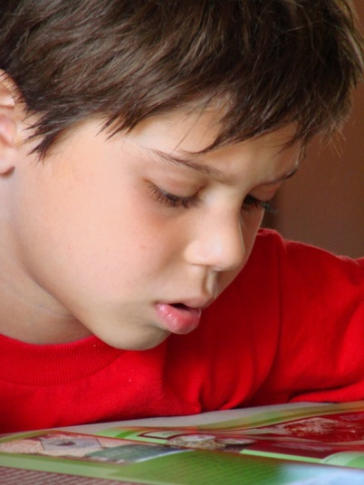 boy reading red shirt